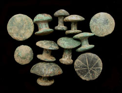 Belt Studs, Fungi-form, Lot of Eleven, 1st-2nd Cent AD
